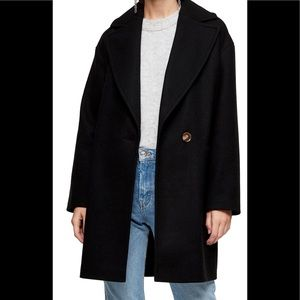 Topshop Long Carly Coat, Black NWT. Size 12